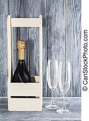 houten, 8, champagne, champagne., vakantie, moeder, volgende, bril, day., fles, box., maart, 2