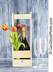 houten, 8, champagne, vakantie, flowers., tulp, moeder, volgende, bril, day., fles, box., romantische, maart, setting., 2