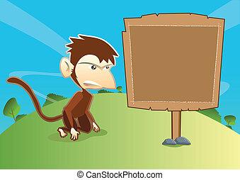 houten, aap, lege, signage
