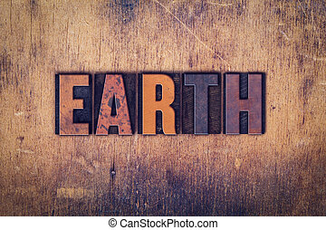 houten, aarde, concept, type, letterpress