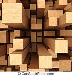 houten, abstract, achtergrond, 3d
