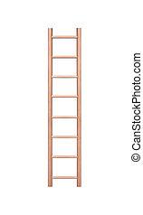 houten, achtergrond., ladder, witte , vrijstaand