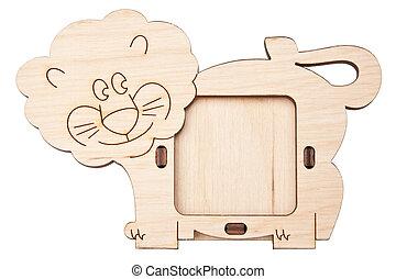 houten afbeelding omlijsting, in, de, vorm, van, leeuw