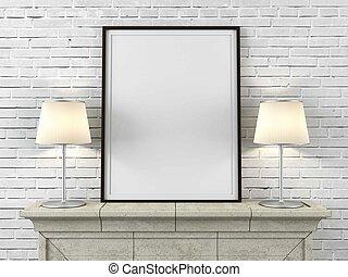 houten afbeelding omlijsting, met, lampen