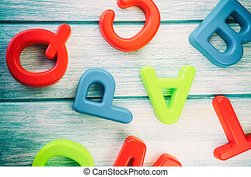 houten, alphabet., tafel., brieven