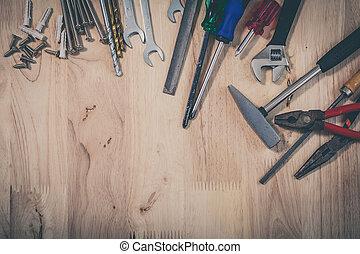 houten, anders, set, gereedschap, achtergrond
