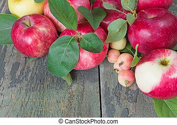 houten, appeltjes , achtergrond, rood