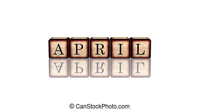 houten, april, blokje, 3d
