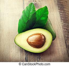 houten, avocado, bladeren, organisch, tafel