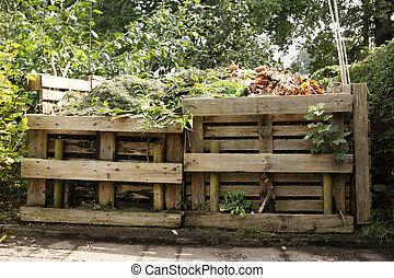 houten, bak, compost