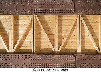 houten, balken, metaal, raad