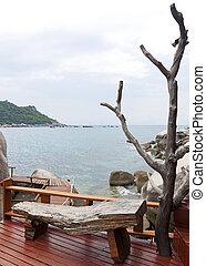 houten bank, revers, om te, de, zee