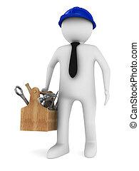 houten, beeld, vrijstaand, toolbox., man, 3d