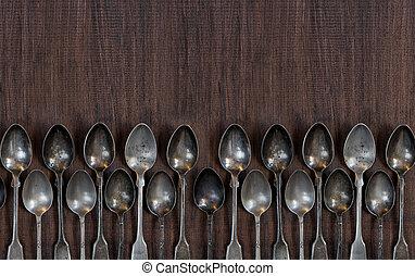 houten, bestek, ouderwetse , tafel