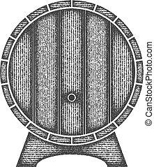 houten, bier, barrel., vorm, etiket