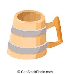 houten, bier, pictogram, mok, spotprent