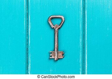 houten, blauwe , oud, klee, achtergrond