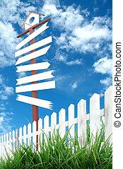 houten, blauwe , signboard, hemel