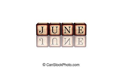 houten, blokje, juni, 3d