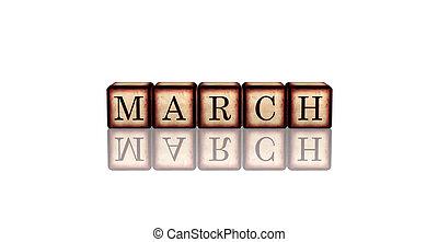 houten, blokje, maart, 3d