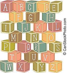 houten blokken, alfabet