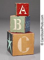 houten blokken, met, alfabet, brieven