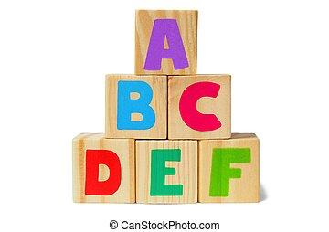 houten blokken, met, brieven