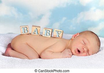 houten blokken, op, pasgeboren baby