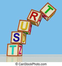 houten blokken, spelling, vertrouwen, het vallen, op, als,...