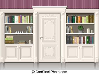 houten, boek, kabinet