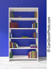 houten, boekenkast, met, velen, anders, boekjes , blauwe muur