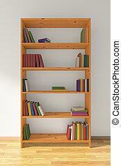 houten, boekenkast, met, velen, boekjes
