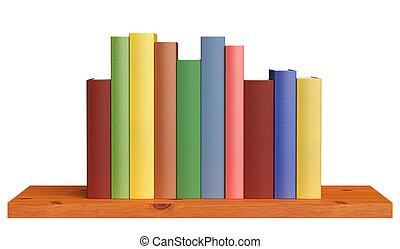 houten, boekenplank, met, boekjes