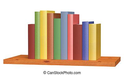 houten, boekenplank, met, gekleurde, boekjes