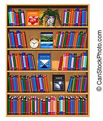 houten, boekjes , boekenkast, kleur