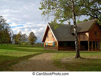 houten, boerderij, oud