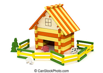 houten, boerderij, speelbal