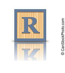 houten, brief, r, blok, vector