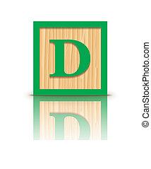 houten, brief, vector, d, blok