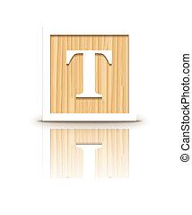 houten, brief, vector, t, blok