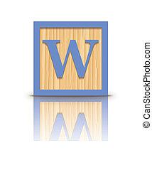 houten, brief, vector, w, blok