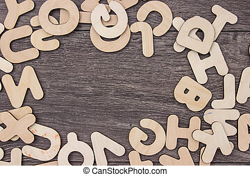 houten, brieven, op, houten, achtergrond