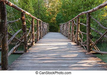 houten brug, in, een, park