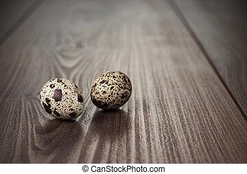houten, bruine , eitjes, kwartel, tafel