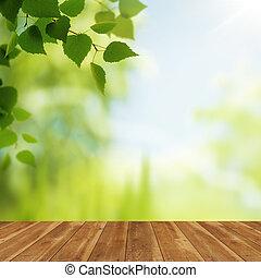 houten bureau, tegen, beauty, natuurlijke , achtergronden,...
