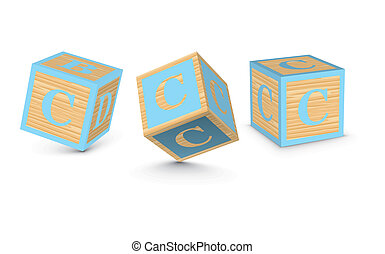 houten, c, vector, blokjes, brief