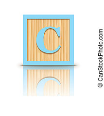 houten, c, vector, brief, blok