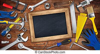 houten, concept, gereedschap, doe het zelf, achtergrond