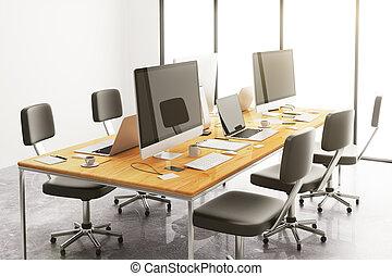 houten, conferentie tafel, met, kantoor, accessoires, en, computers