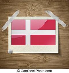 houten, denemarken, frame, vector, vlaggen, texture.